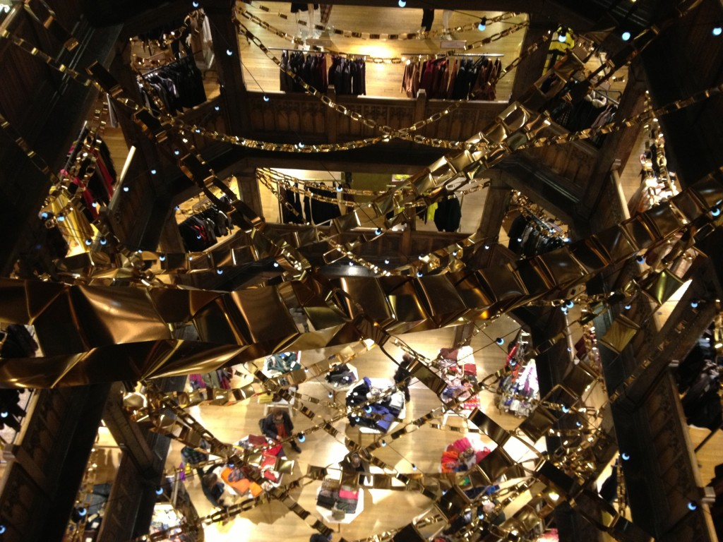Looking down from the top floor of Liberty of London. So festive!