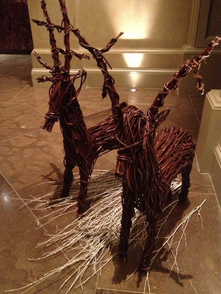 Adorable wooden reindeer greeted me - loved this nod to the Christmas holiday.
